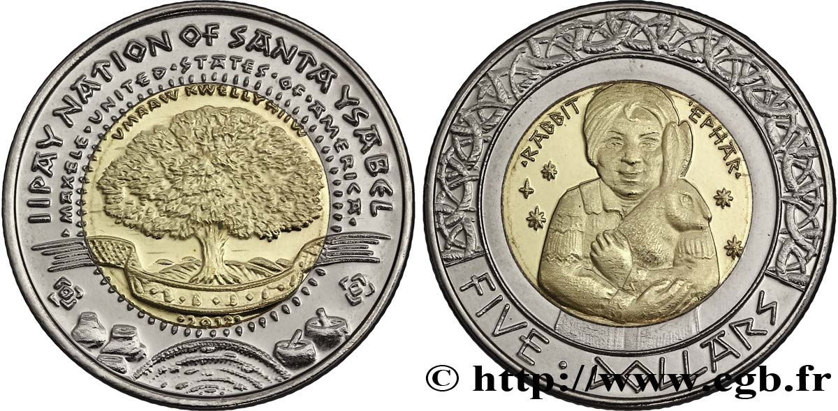 "ÉTATS UNIS D AMÉRIQUE - Tribus Amérindiennes 5 Dollars Proof Iipay Nation of Santa Ysabel ""fillette et lapin"" 2012  SPL"