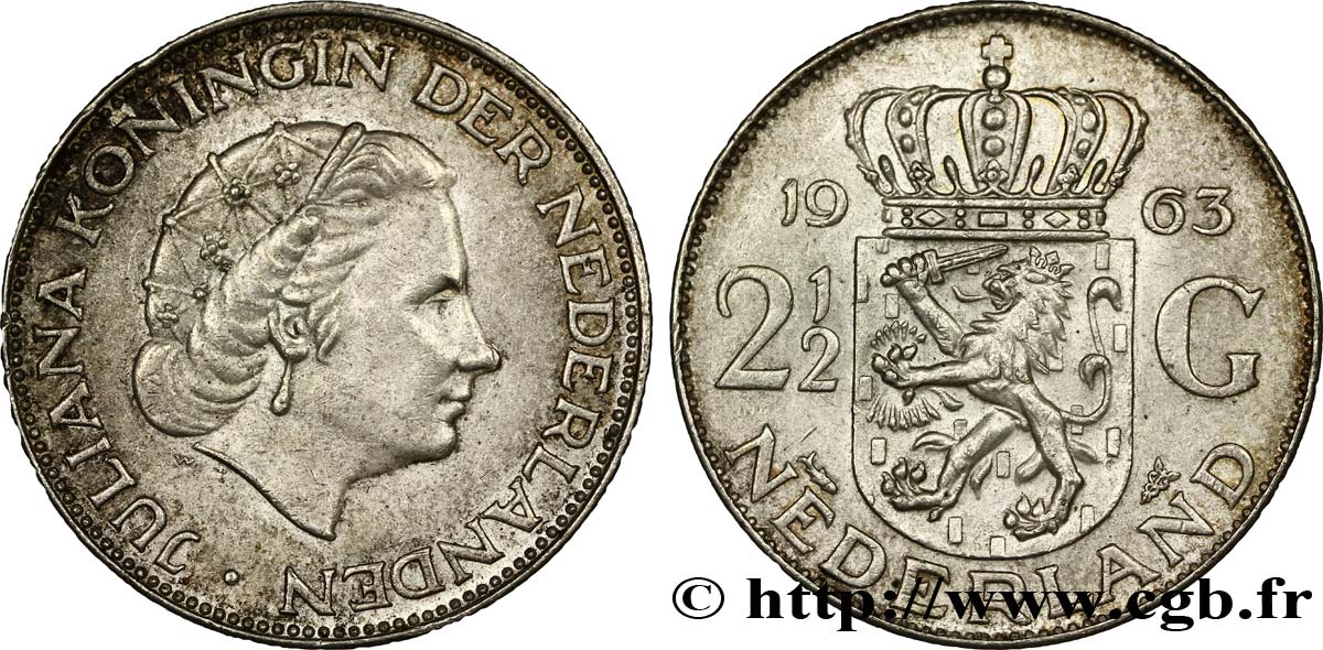 PAYS-BAS 2 1/2 Gulden Juliana 1963 Utrecht SUP