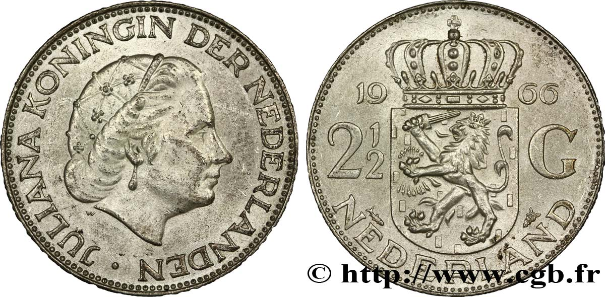 PAYS-BAS 2 1/2 Gulden Juliana 1966 Utrecht SUP