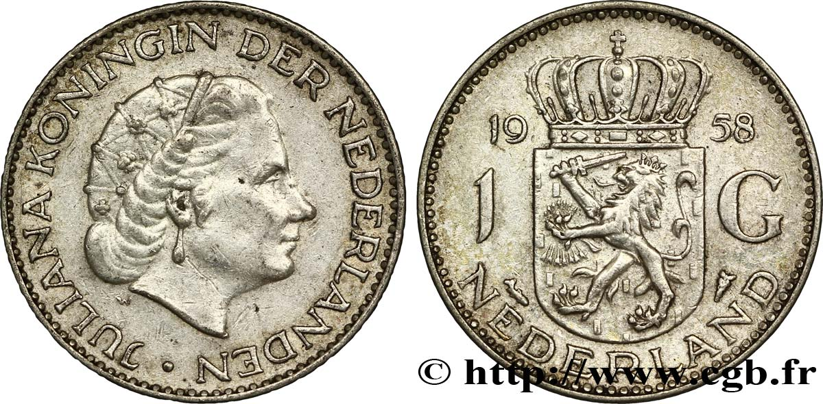 PAYS-BAS 1 Gulden Juliana 1958  SUP