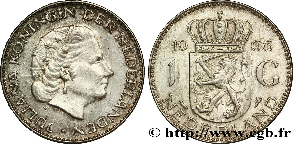 PAYS-BAS 1 Gulden Juliana 1966  SUP