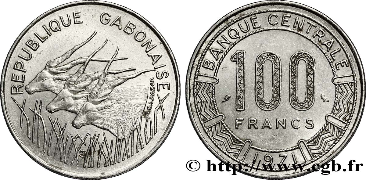 GABON 100 Francs antilopes 1971 Paris SUP