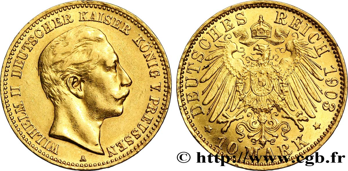 ALLEMAGNE - PRUSSE 10 Mark or Guillaume II 1903 Berlin SUP