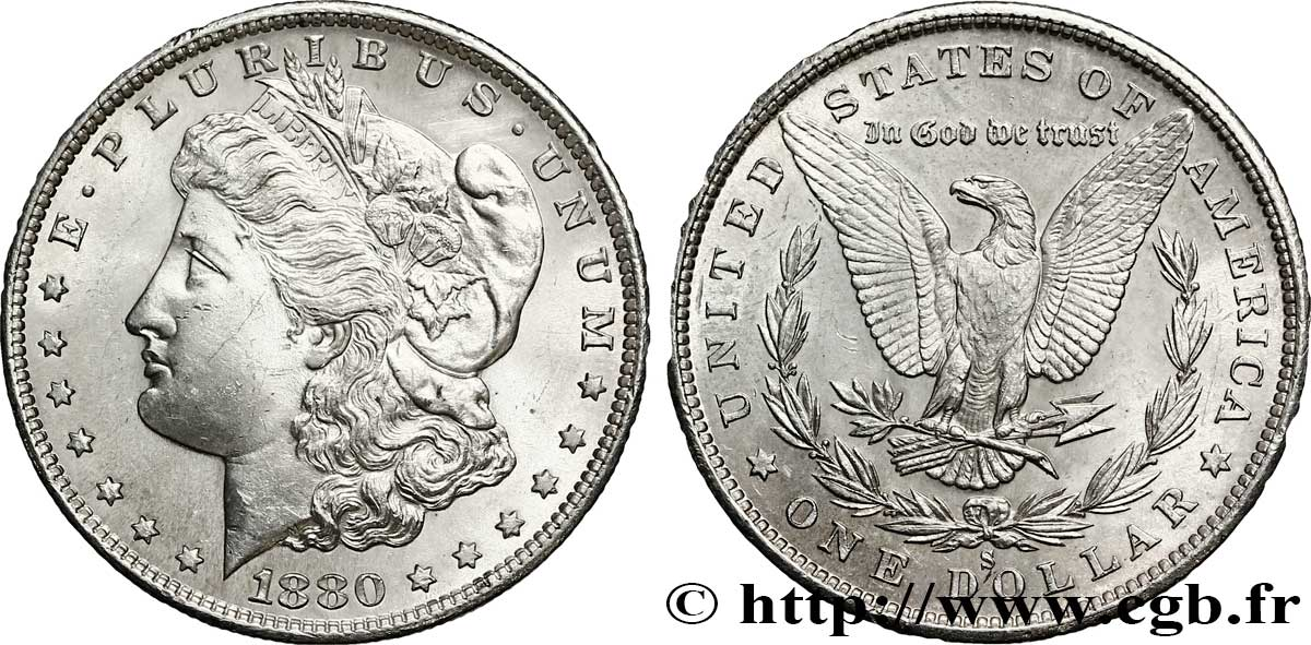 ÉTATS-UNIS D AMÉRIQUE 1 Dollar type Morgan 1880 San Francisco - S SPL