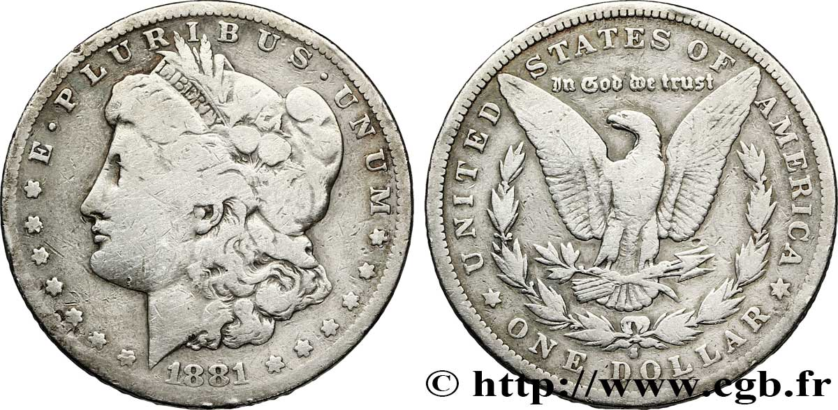 ÉTATS-UNIS D AMÉRIQUE 1 Dollar type Morgan 1881 San Francisco - S B+