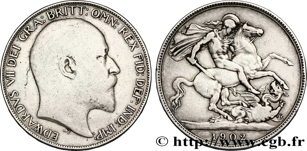 ROYAUME-UNI 1 Crown Edouard VII / St Georges terrassant le dragon, an II 1902  TB