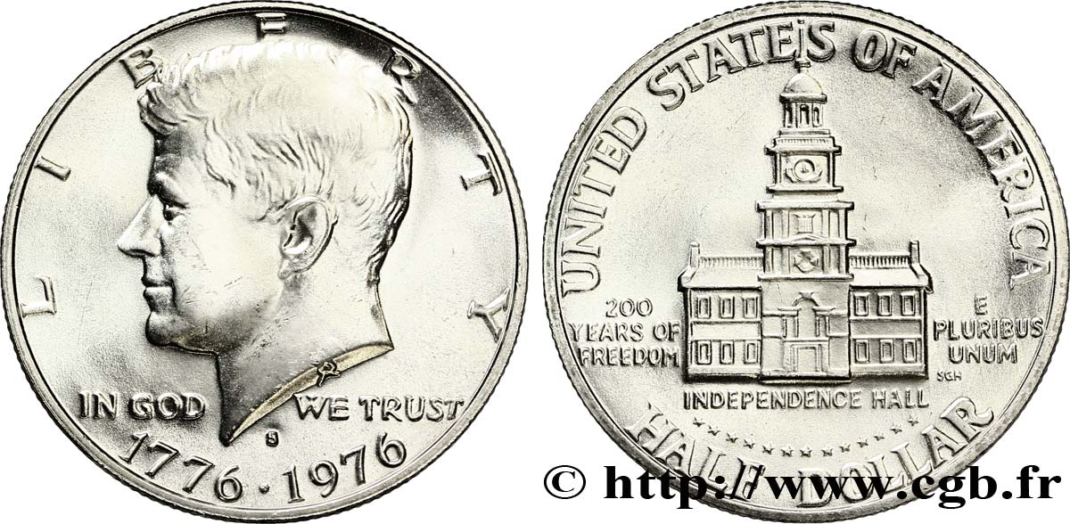 ÉTATS-UNIS D AMÉRIQUE 1/2 Dollar Kennedy / Independence Hall bicentennaire 1976 San Francisco - S FDC