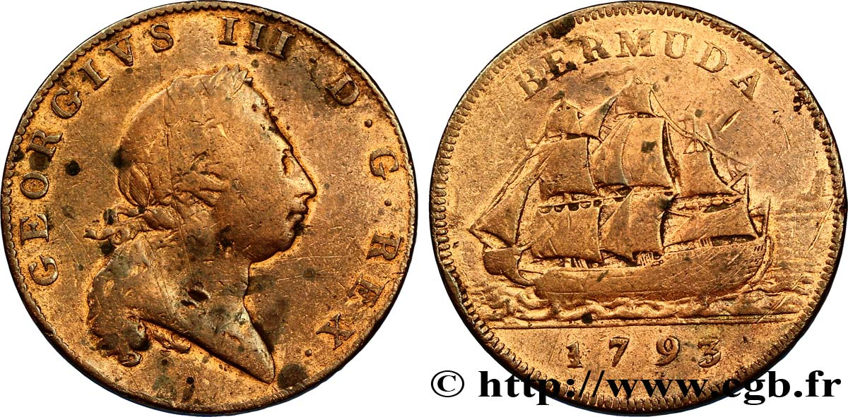 BERMUDES 1 Penny Georges III / voilier 1793  TB