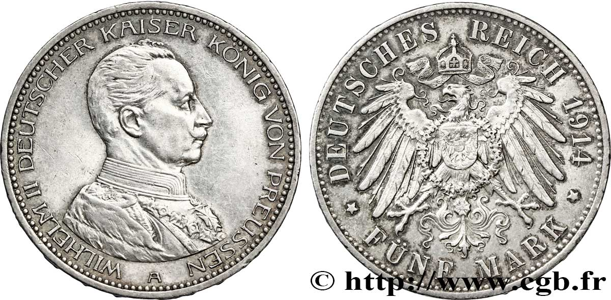 ALLEMAGNE - PRUSSE 5 Mark Guillaume II 1914 Berlin SUP