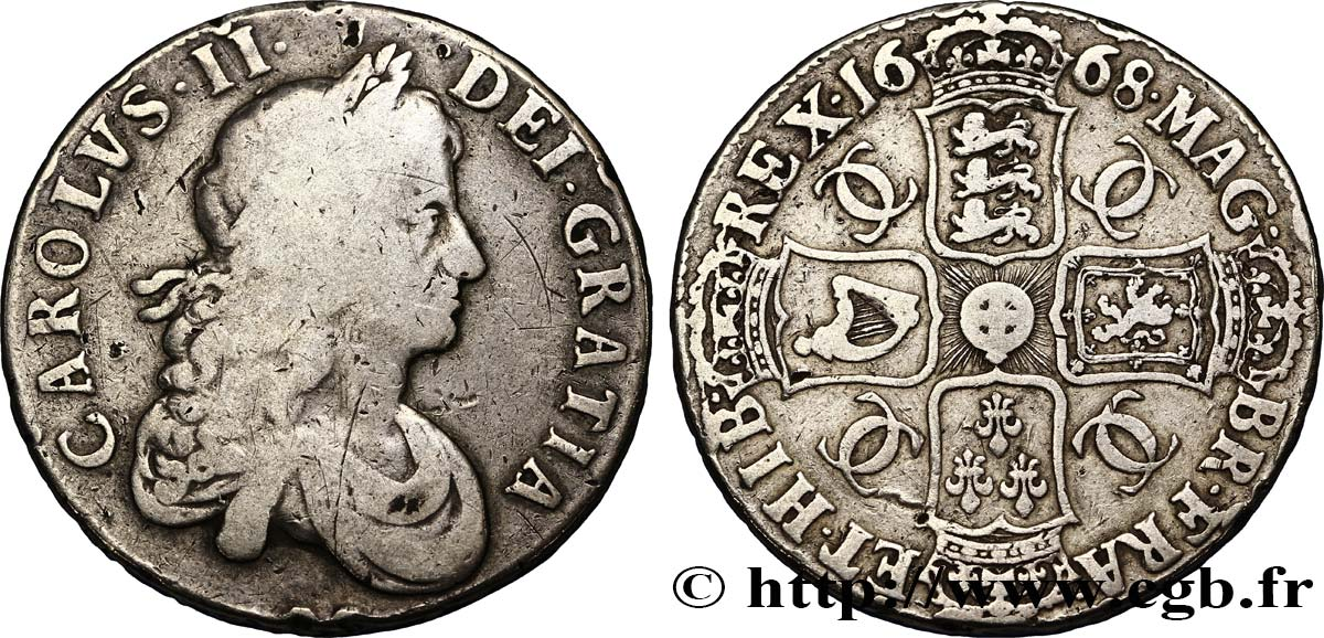 ANGLETERRE ET IRLANDE (ROYAUME) 1 Crown Charles II 1668  TB