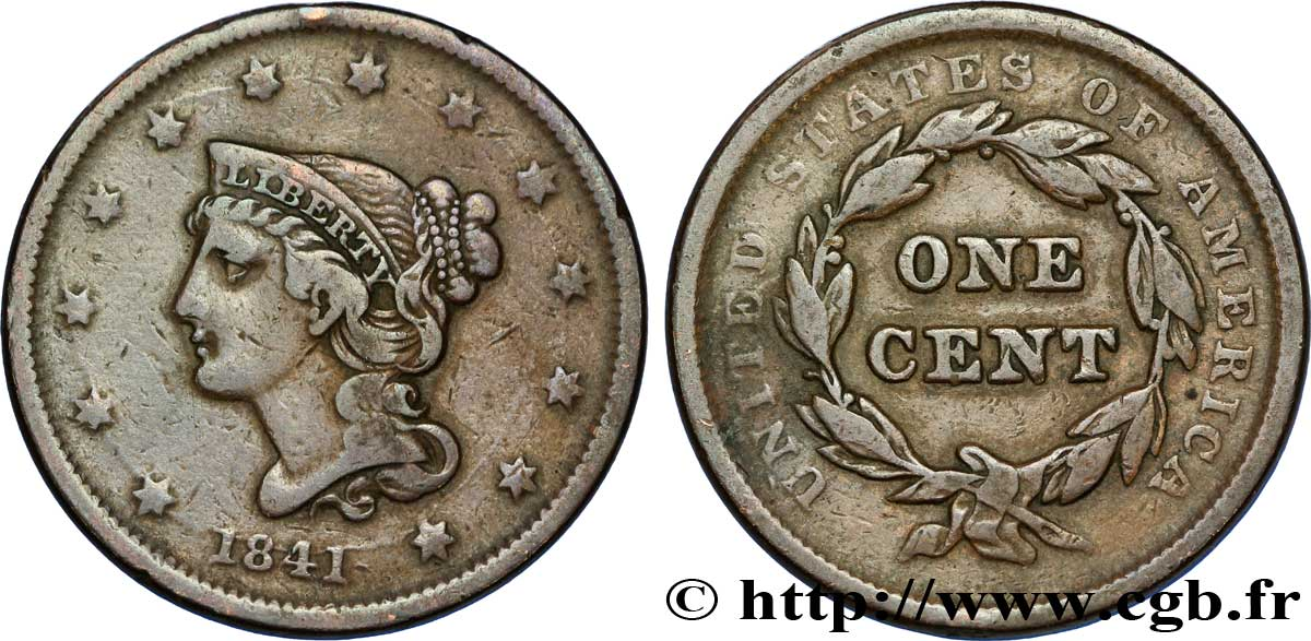 "ÉTATS-UNIS D AMÉRIQUE 1 cent type ""Braided Hair"" 1841 Philadelphie TB"