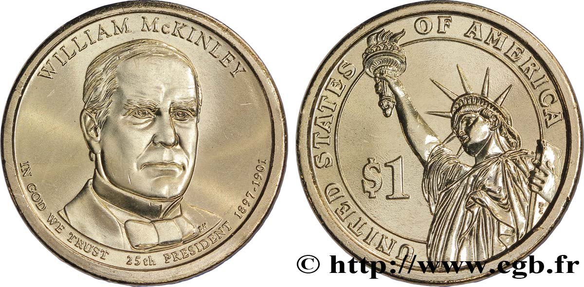 ÉTATS-UNIS D AMÉRIQUE 1 Dollar William McKinley tranche B 2013 Philadelphie - P SPL