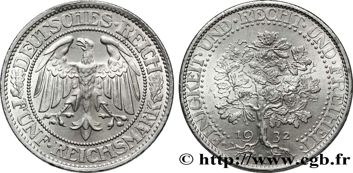 ALLEMAGNE 5 Reichsmark aigle / chêne 1932 Berlin SUP
