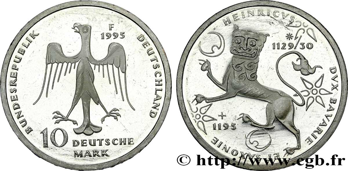"ALLEMAGNE 10 Mark Proof aigle héraldique / Henri ""le lion"" 1995 Stuttgart - F SUP"