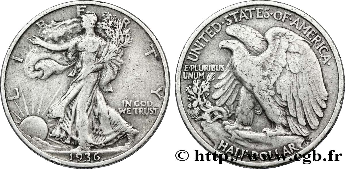 ÉTATS-UNIS D AMÉRIQUE 1/2 Dollar Walking Liberty 1936 Philadelphie TB+