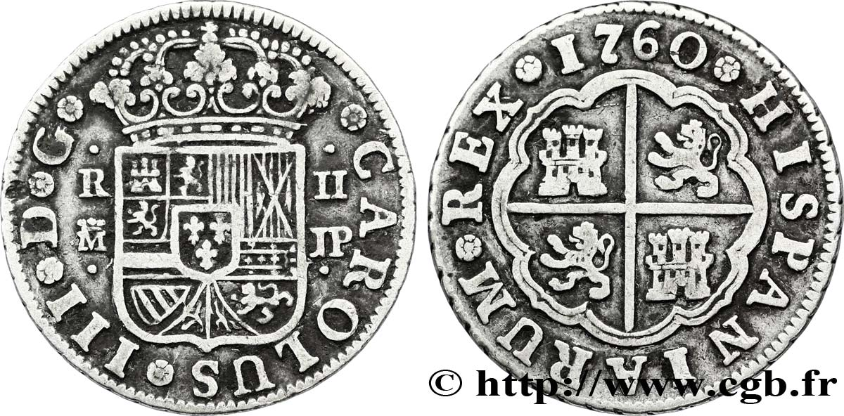 ESPAGNE 2 Reales Charles III d'Espagne JP 1760 Mexico TTB
