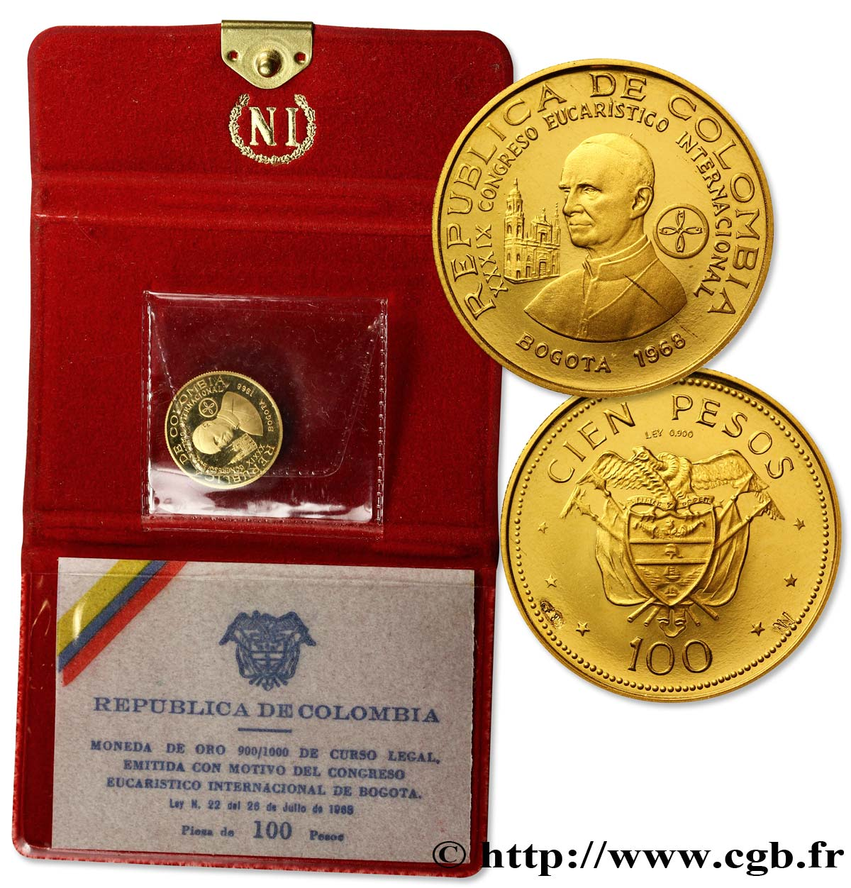 COLOMBIE 100 Pesos or Congrès Eucharistique International 1968 Bogota SPL