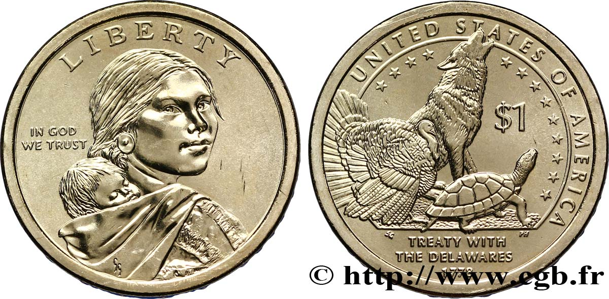 UNITED STATES OF AMERICA 1 Dollar Sacagawea / Traité avec les Delawares  type tranche B 2013 Denver MS