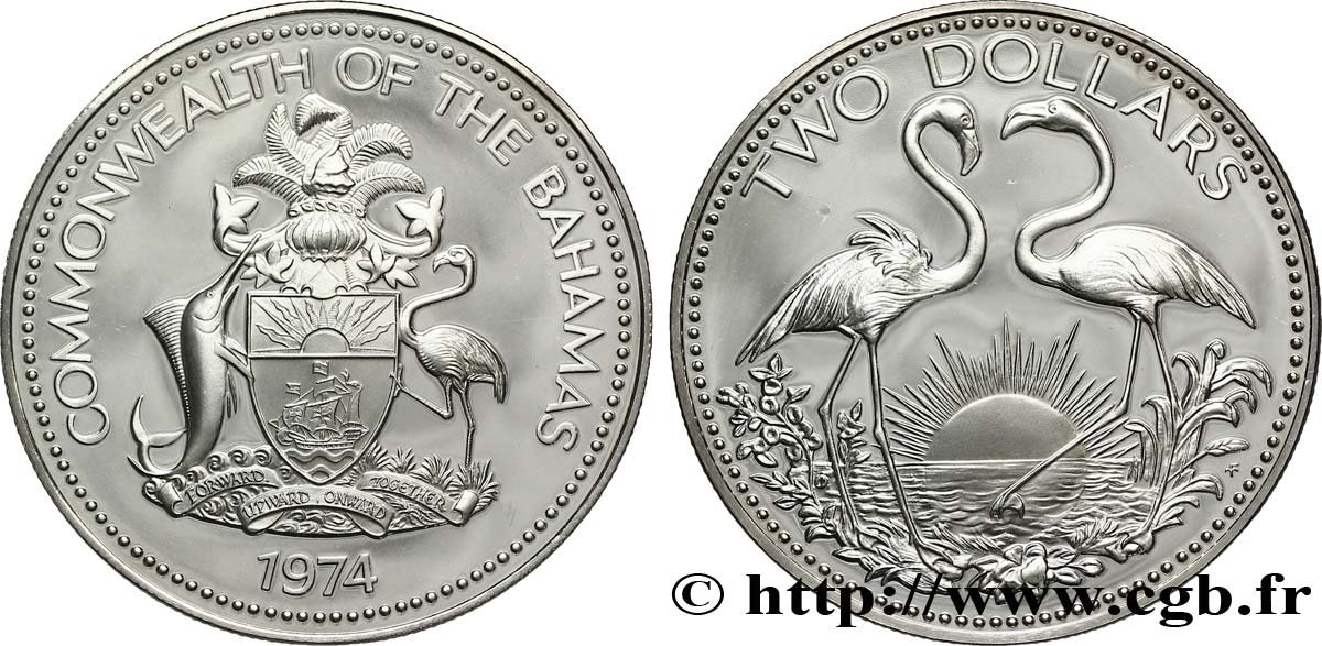 BAHAMAS 2 Dollars Proof emblème / flamands roses 1974  SPL