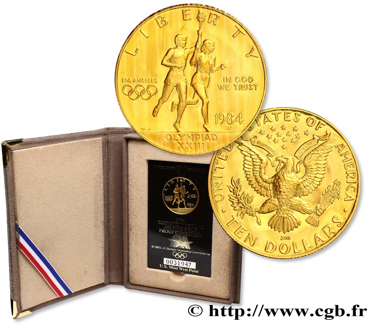 ÉTATS-UNIS D AMÉRIQUE 10 Dollars Proof Jeux Olympiques de Los Angeles 1984 West Point - W FDC