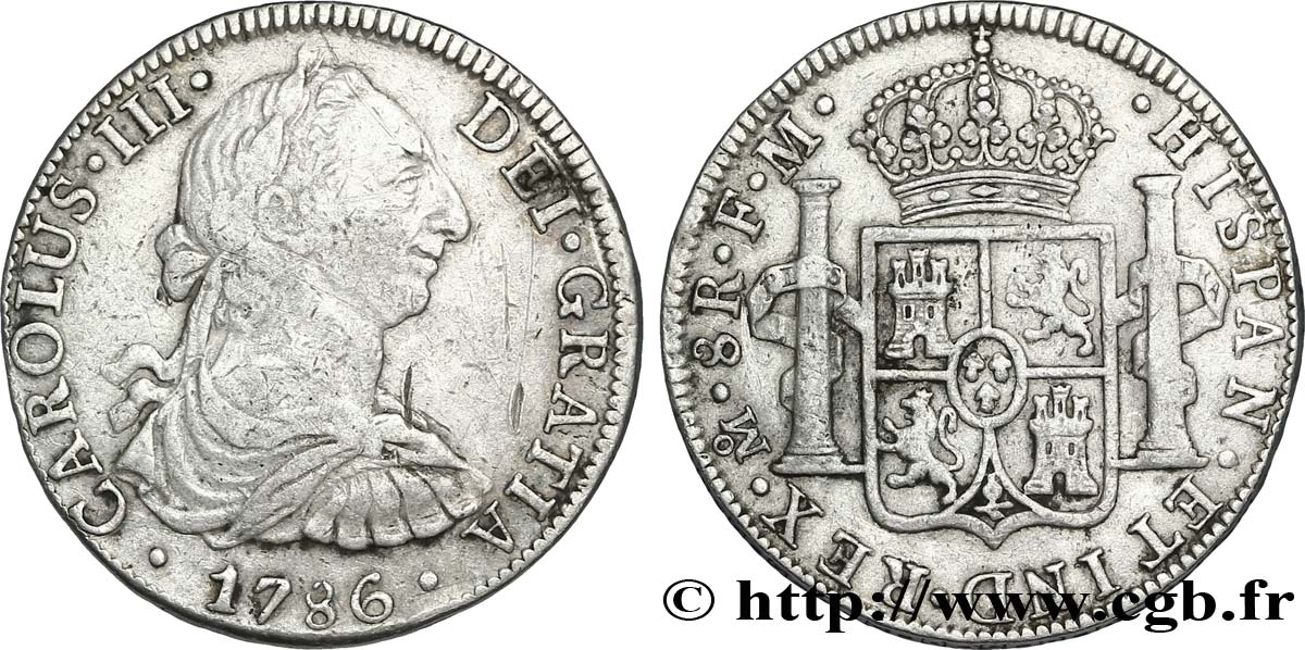 MEXIQUE 8 Reales Charles III d'Espagne 1786 Mexico TB
