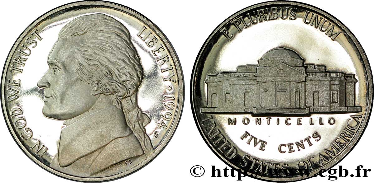 ÉTATS-UNIS D AMÉRIQUE 5 Cents Proof président Thomas Jefferson / Monticello 1994 San Francisco - S SPL
