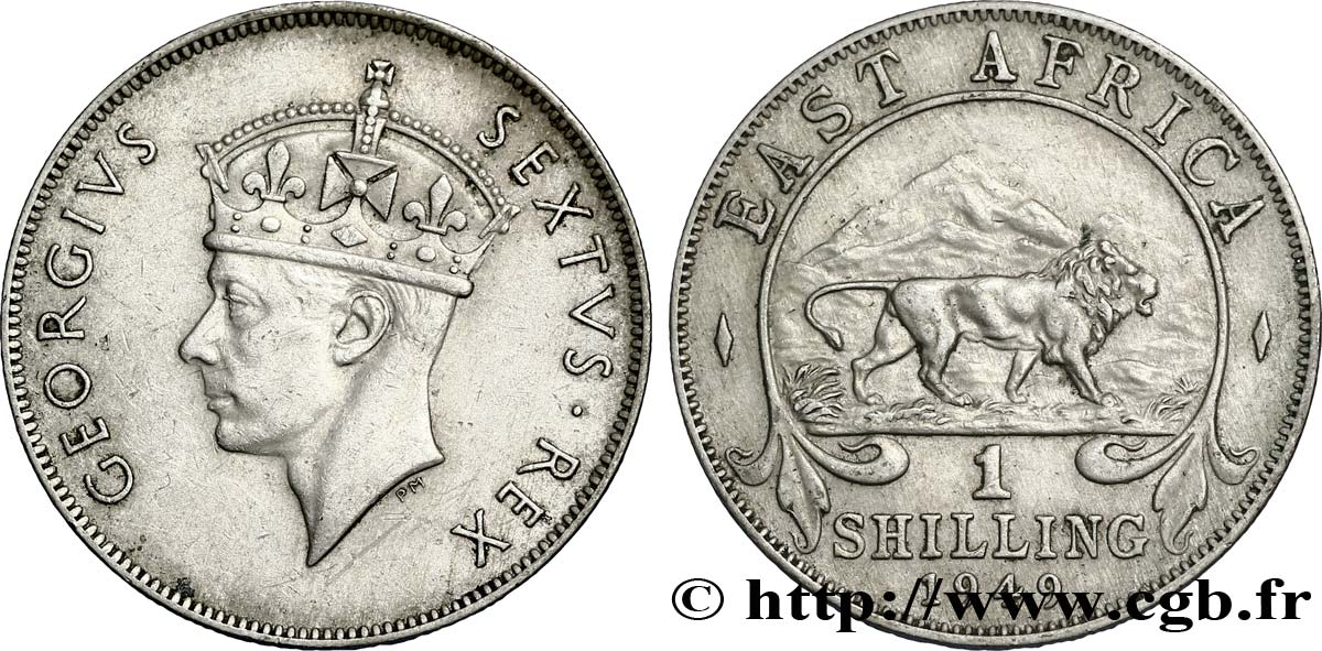 AFRIQUE DE L EST 1 Shilling Georges VI / lion 1949 British Royal Mint SUP