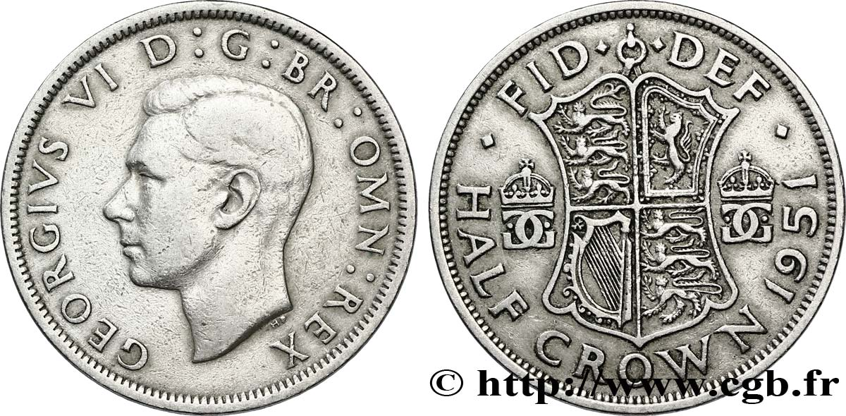ROYAUME-UNI 1/2 Crown Georges VI / écu 1951  TB+