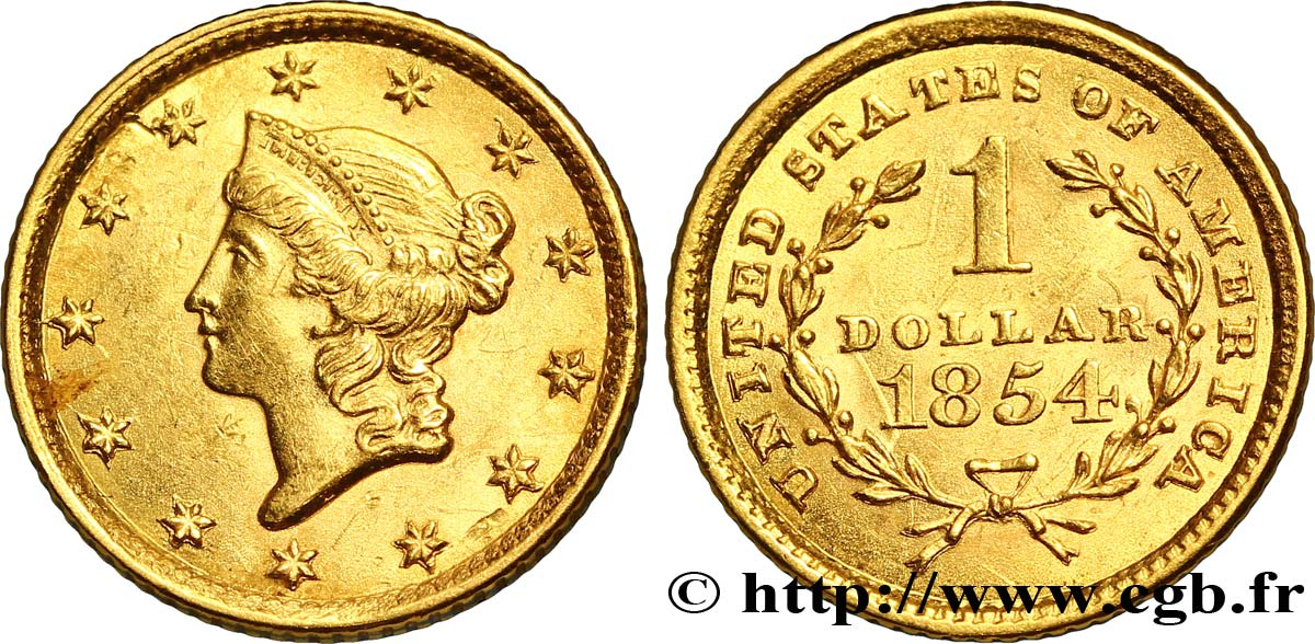 ÉTATS-UNIS D AMÉRIQUE 1 Dollar Or  Liberty head  1er type 1849-1854 1854 Philadelphie SUP