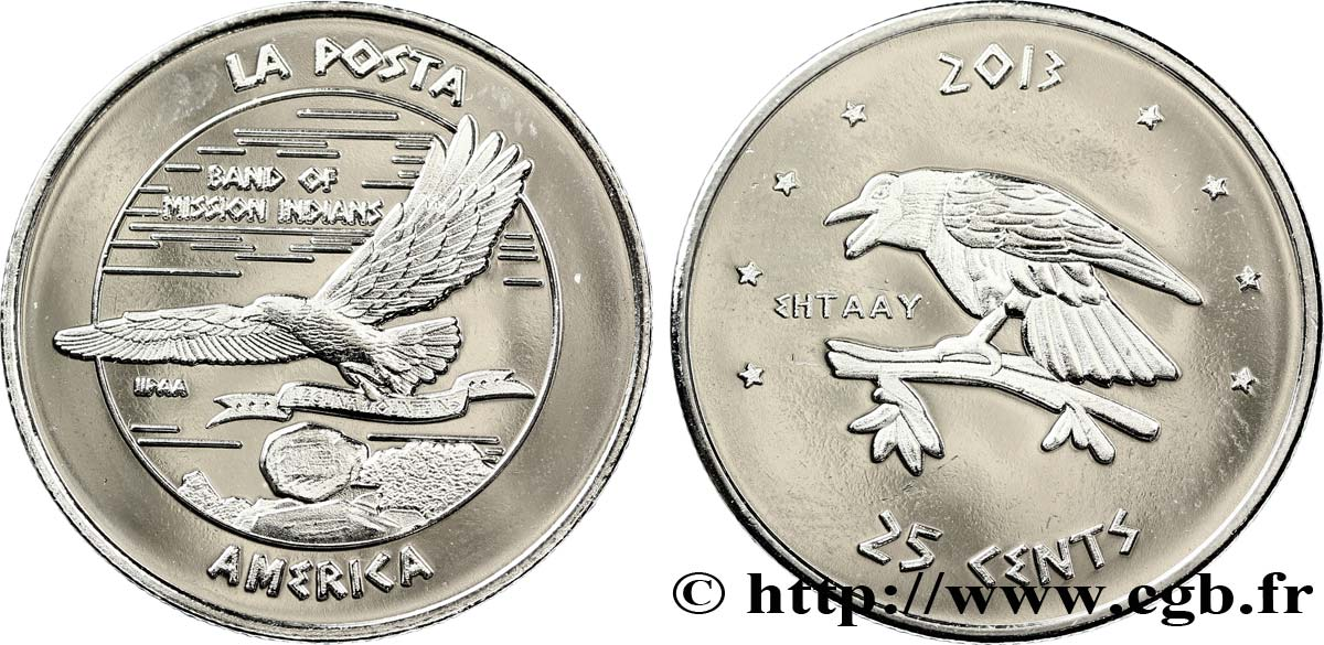 UNITED STATES OF AMERICA - Native Tribes 25 Cents Proof Nation of La Posta 2013  MS