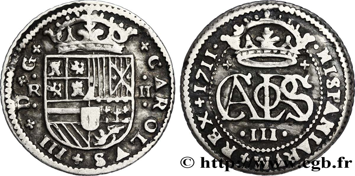 ESPAGNE 2 Reales Charles III archiduc prétendant 1711 Barcelone TB+