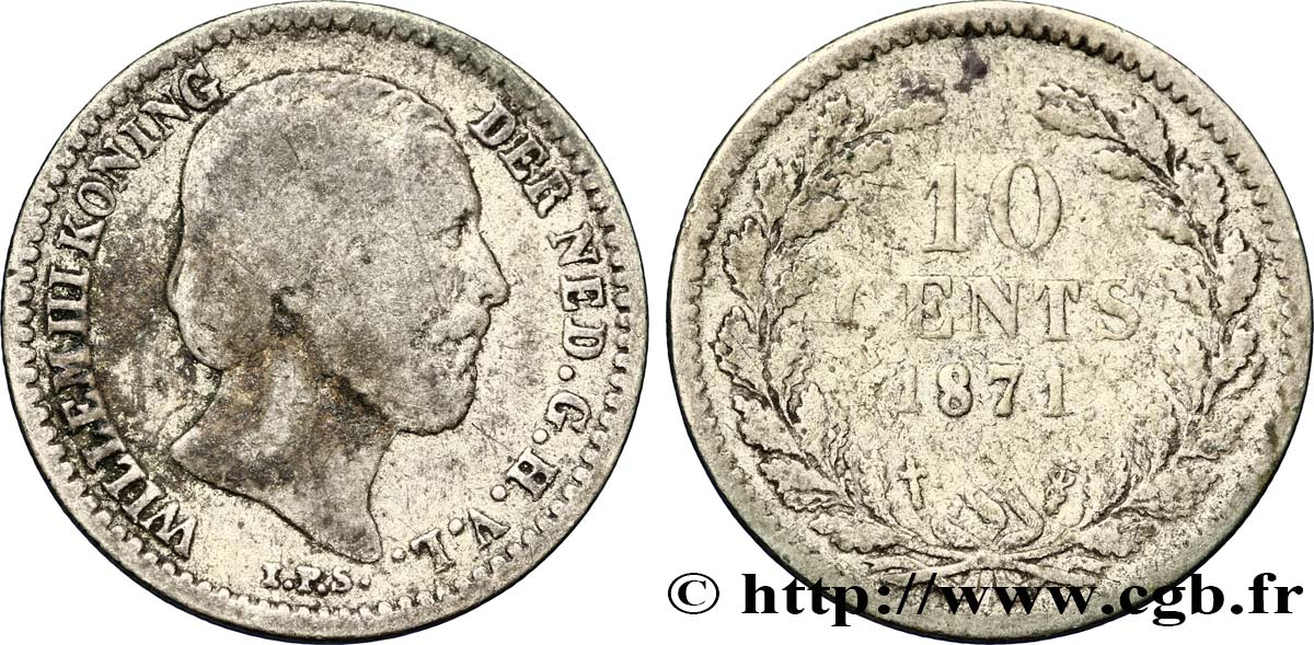 PAYS-BAS 10 Cents Guillaume III 1871 Utrecht TB