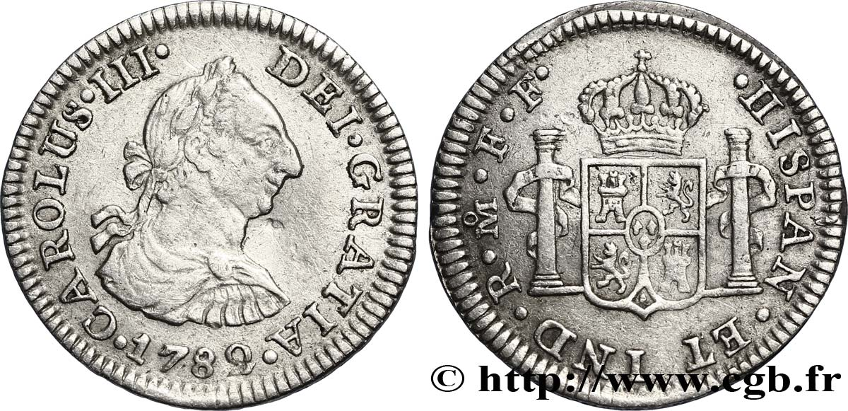 MEXIQUE 1/2 Real Charles III 1782 Mexico TTB
