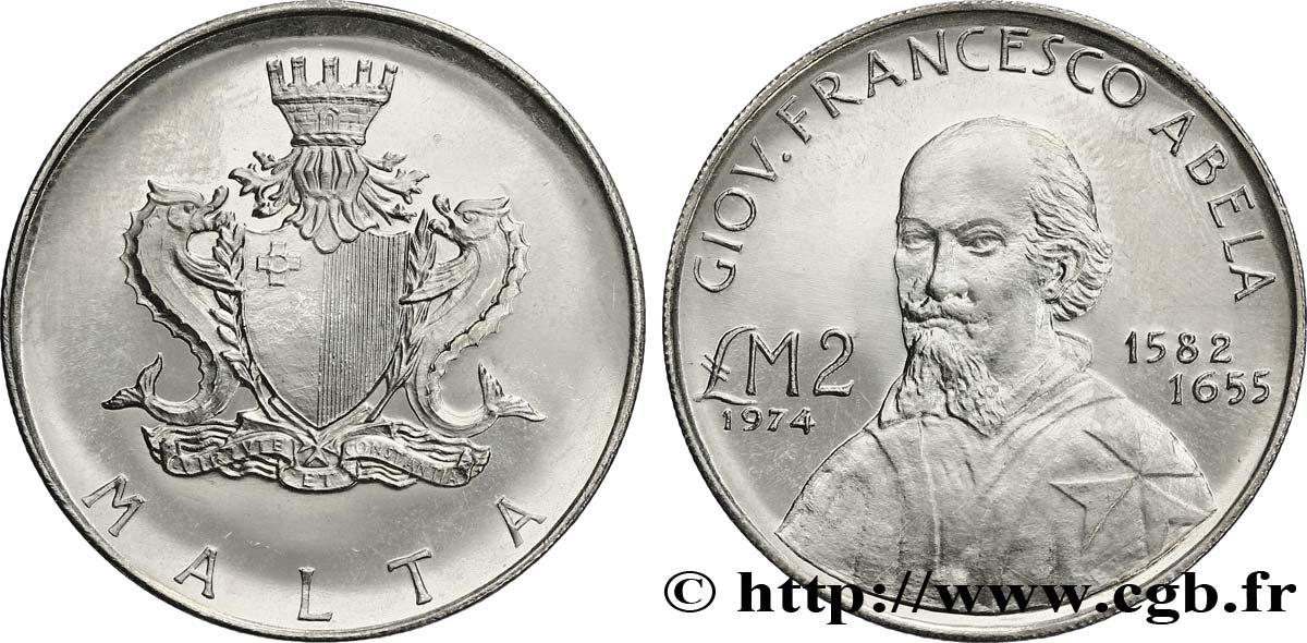 MALTE 2 Pounds (Livres) Giovanni Francesco Abela 1974  SPL
