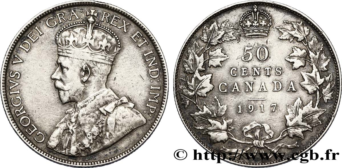 CANADA 50 Cents Georges V 1917  TTB