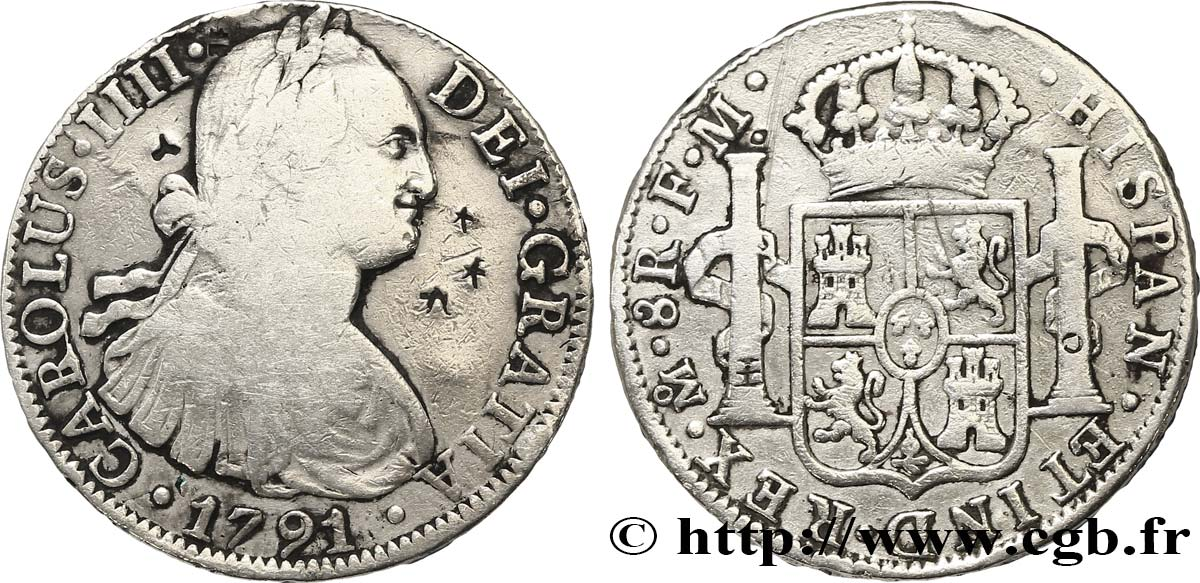 MEXIQUE 8 Reales Charles III d'Espagne 1791 Mexico TB