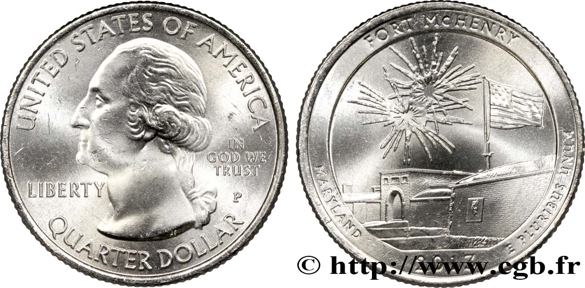 UNITED STATES OF AMERICA 1/4 Dollar Fort McHenry - Maryland 2013 Philadelphie MS