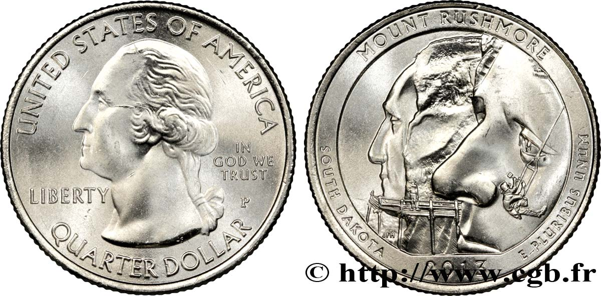 UNITED STATES OF AMERICA 1/4 Dollar Mémorial National du Mont Rushmore - Dakota du Sud 2013 Philadelphie MS
