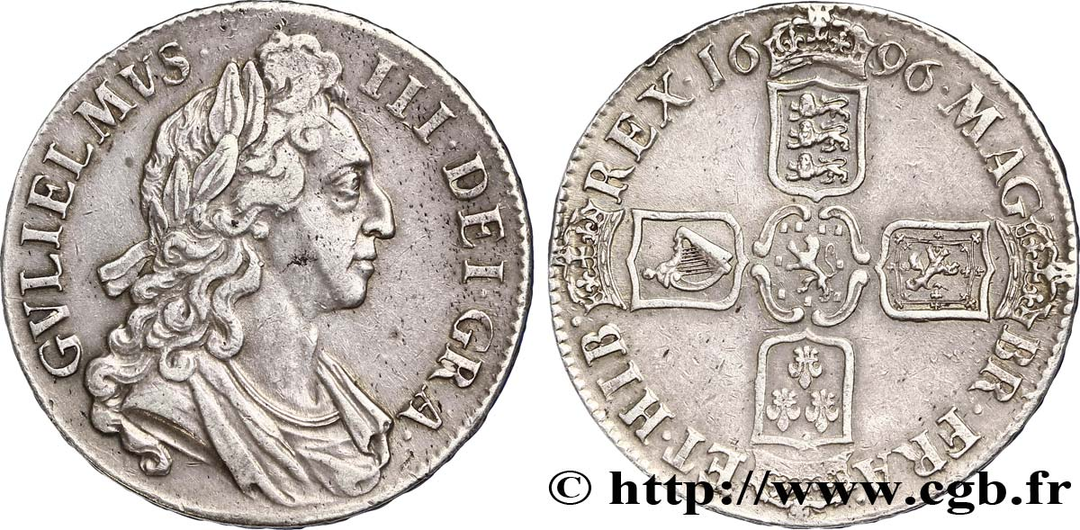 ROYAUME-UNI 1 Crown Guillaume III / armes tranche OCTAVO 1696  TTB+