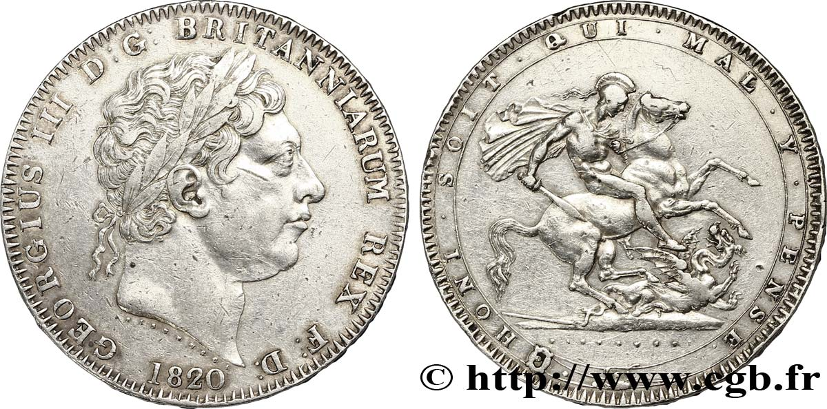 ROYAUME-UNI 1 Crown Georges III / St Georges terrassant le dragon ANNO LIX 1820  TTB+