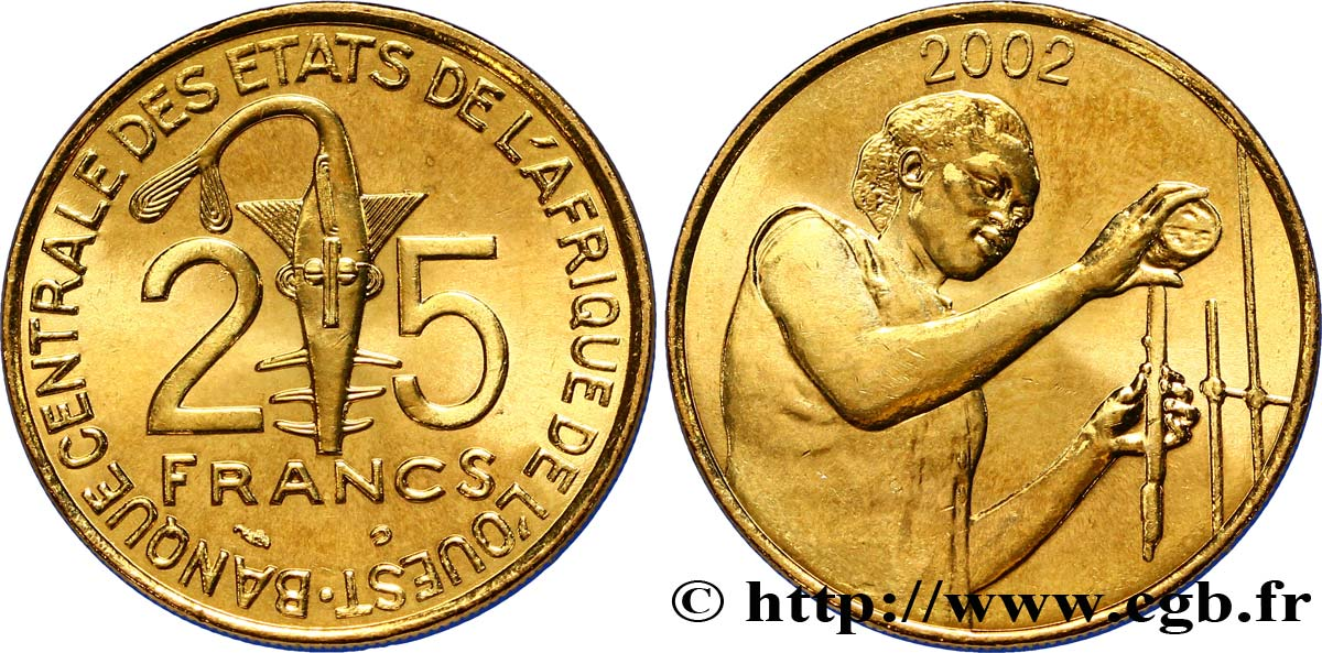 WEST AFRICAN STATES (BCEAO) 25 Francs BCEAO masque / chimiste 2002 Paris MS