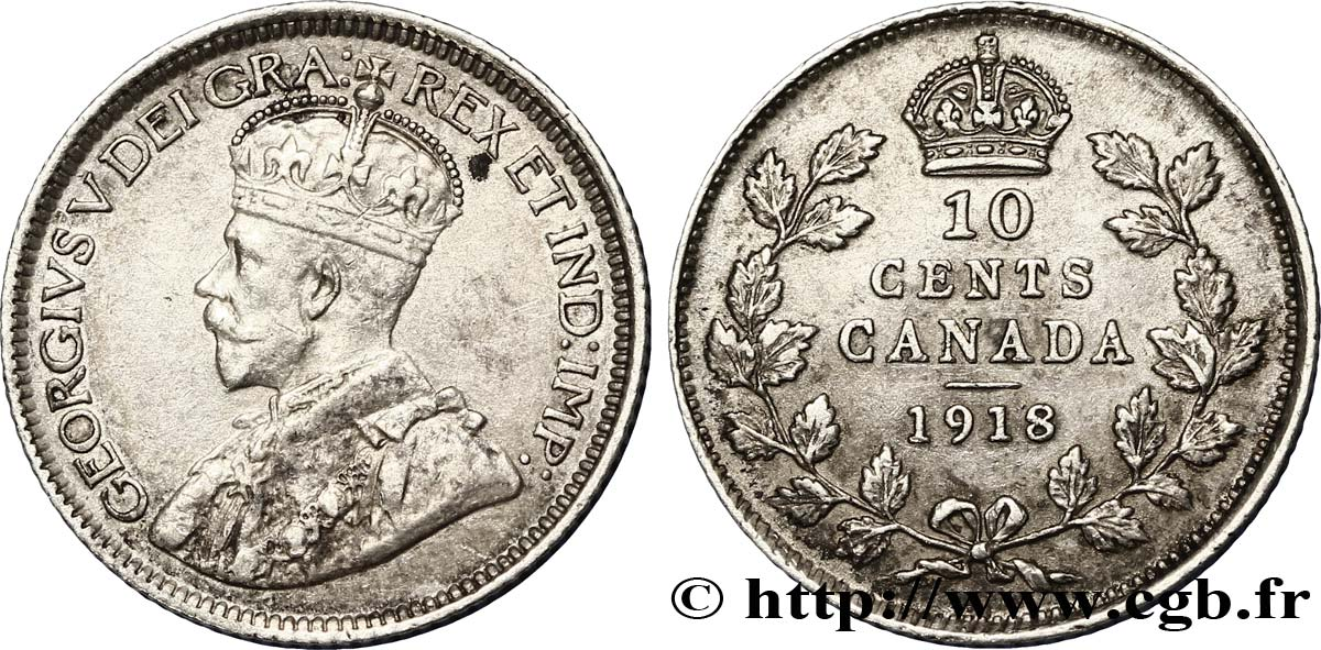 CANADA 10 Cents Georges V 1918  TTB