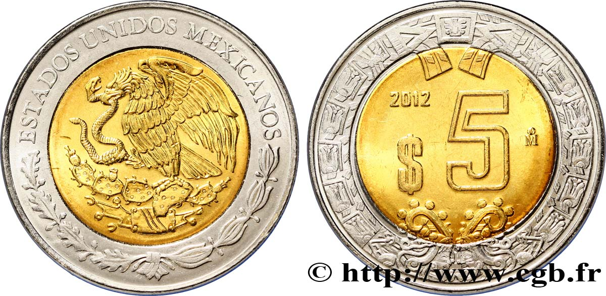 MEXIQUE 5 Pesos aigle 2012 Mexico SPL