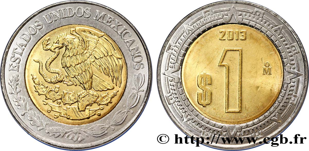 MEXIQUE 1 Peso aigle 2013 Mexico SPL
