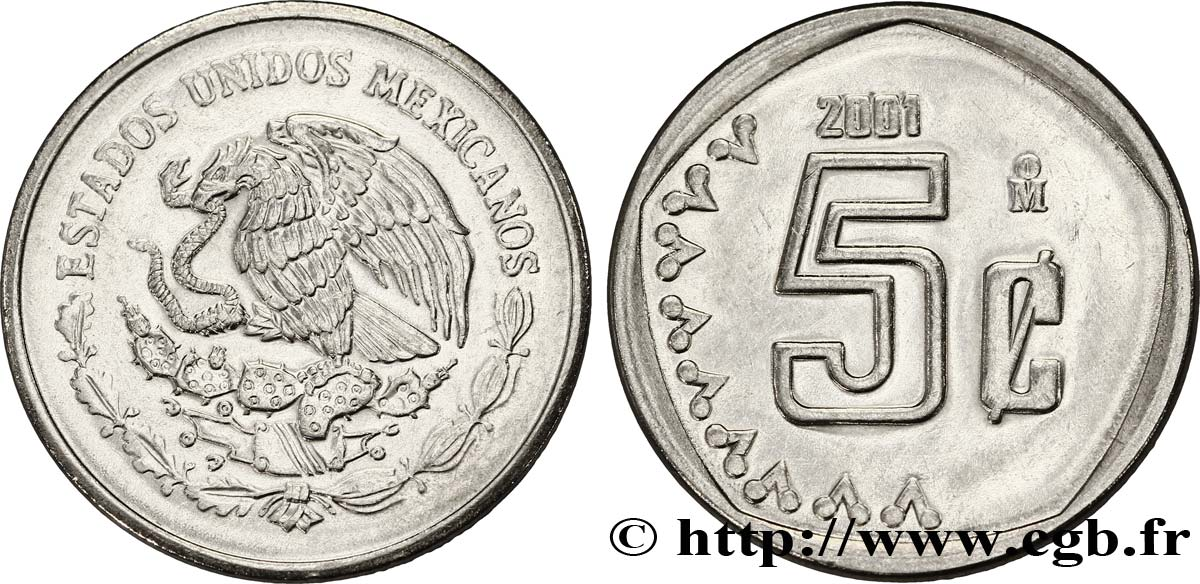 MEXIQUE 5 Centavos aigle 2001 Mexico SPL