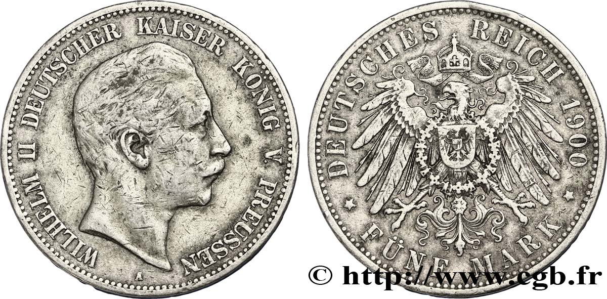 ALLEMAGNE - PRUSSE 5 Mark Guillaume II / aigle 1900 Berlin TB