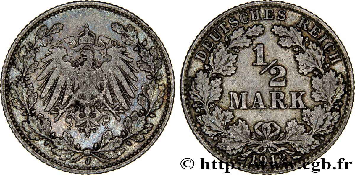 ALLEMAGNE 1/2 Mark Empire aigle impérial 1912 Hambourg - J SUP