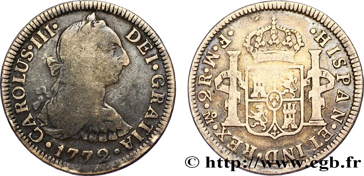 MEXIQUE 2 Reales Charles III d'Espagne 1772 Mexico TB