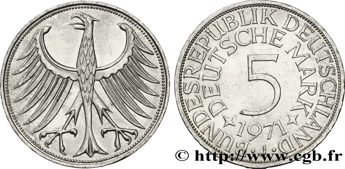 ALLEMAGNE 5 Mark aigle 1971 Hambourg - J SPL