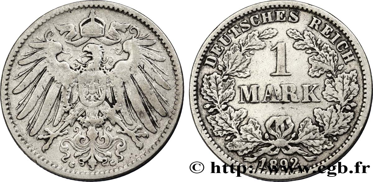 ALLEMAGNE 1 Mark Empire aigle impérial 2e type 1892 Karlsruhe - G TB+